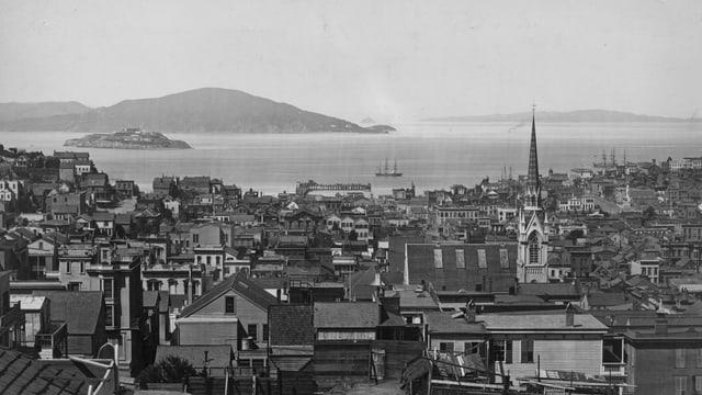 Circa 1890: Die Aussicht über die Bucht von San Francisco, Kalifornien.