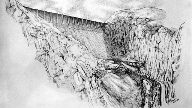 Visualisierung der Staumauer ob der Teufelsbrücke