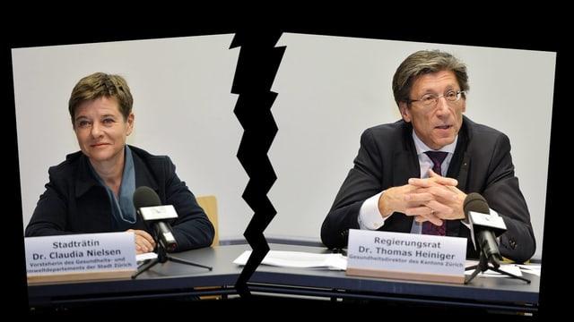 Zerrissenes Bild von Nielsen und Heiniger aus der PK, an der sie die Zusammenarbeit verkündeten.