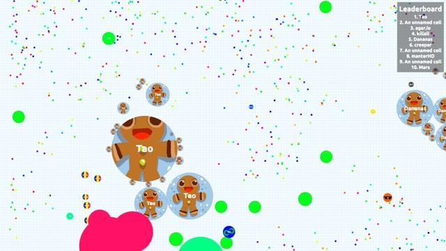 Viele Punkte, die Zellen darstellen, darunter der Gingerbread Man.