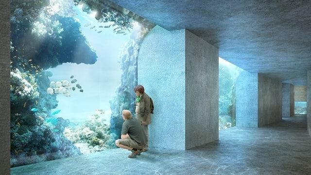 Visualisierung eines riesigen Aquariums, vor dem zwei Menschen knien.