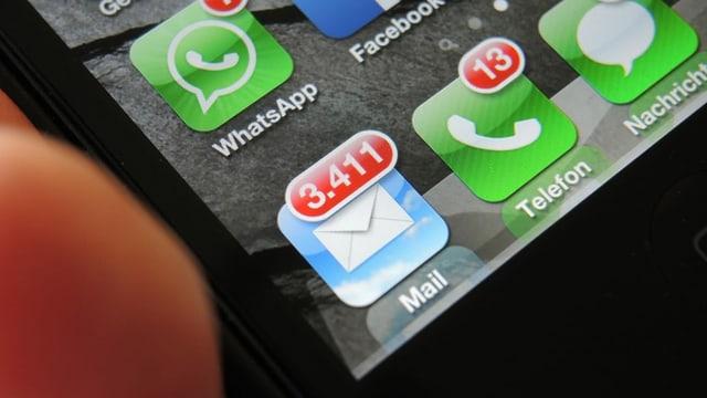 Der Icon auf dem Smartphone zeigt viele ungelesene Mails.