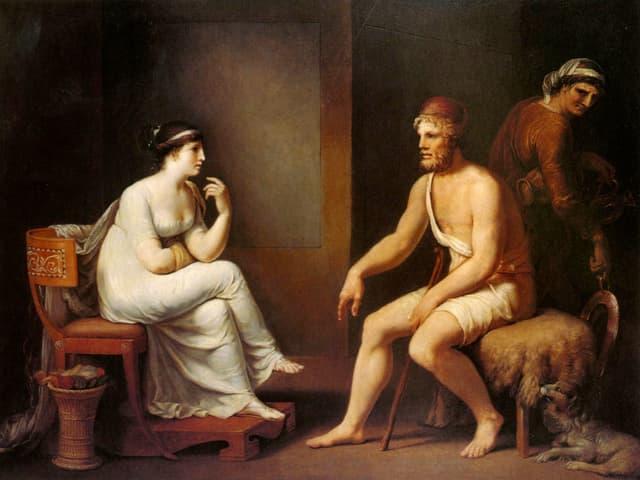 Gemäde: Ein Mann und eine Frau, sitzend in ein Gespräch vertieft