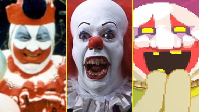 Die Portraits von drei unheimlichen Clowns.