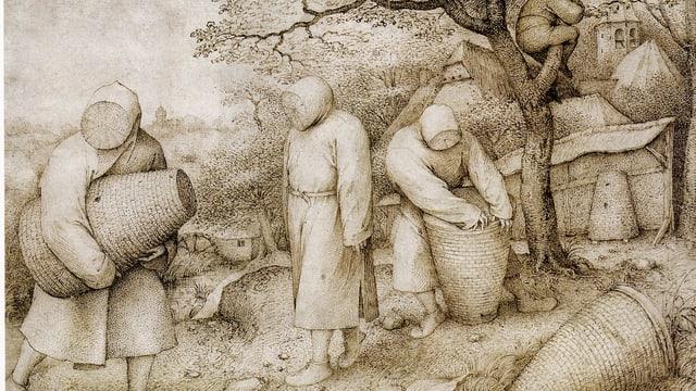Abbildung altertümlicher Imker mit Bienenkörben.