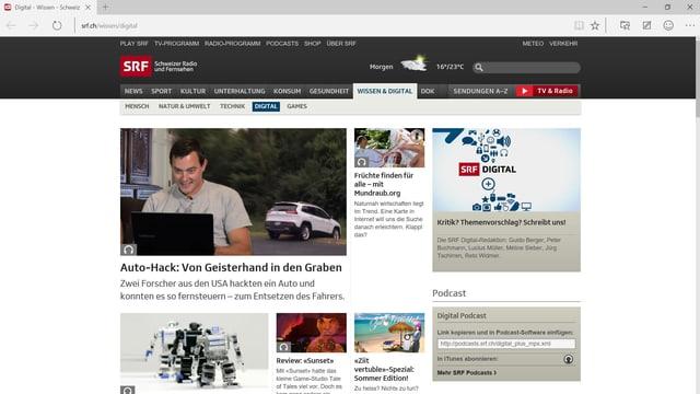 Screenshot des neuen Browsersm Edge, dem Nachfolger des Internet Explorers. Flaches Design!