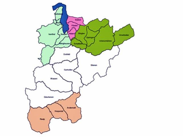 Die Einteilung des Kantons Uri in 5 Gemeinden.