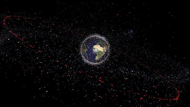 Bild der Erde mit Weltraumschrott
