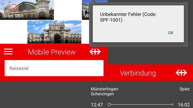 Das Bild zeigt Screenshots der neuen SBB-App - mit einer Fehlermeldung.
