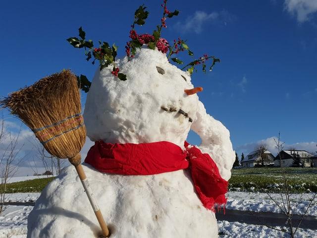 Ein Schneemann auf einer leicht verschneiten Wiese.