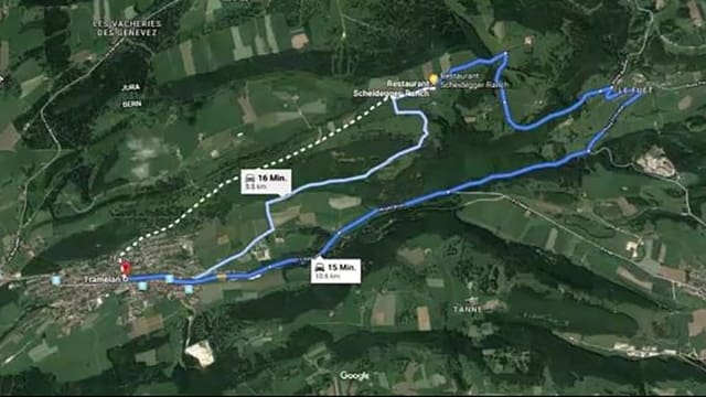 Google Maps Printscreen der drei Routen