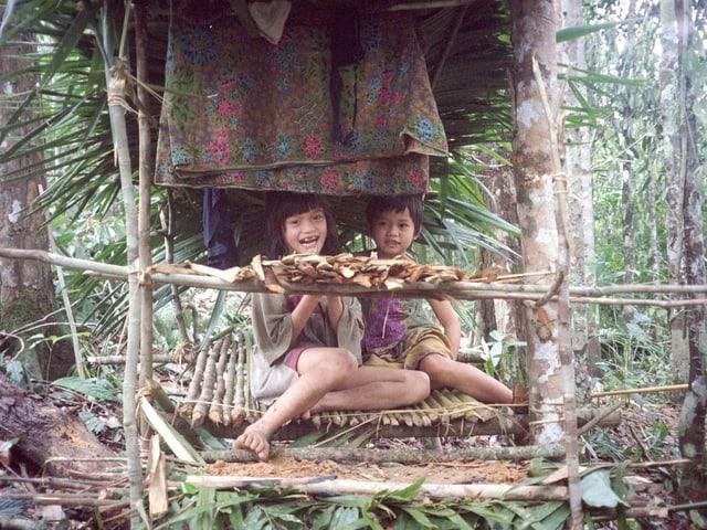Penan Kinder vom Fluss Lipang sitzen in einem traditionellen, aus zusammengebundenen Aesten gebauten, Unterstand der Urwaldnomade