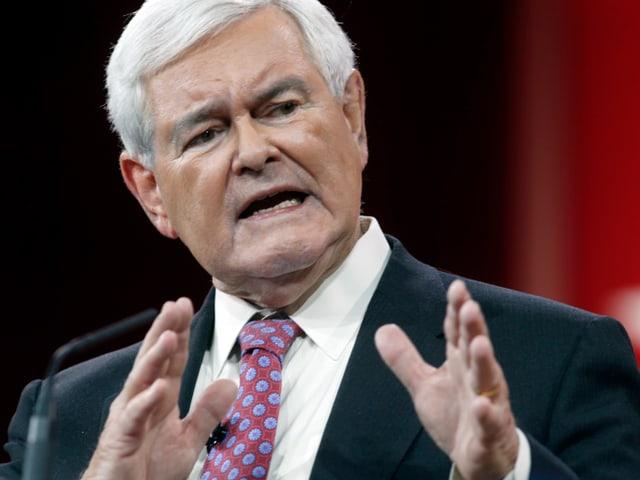 Gingrich mit weissem Haar spricht mit gestikulierenden Händen.