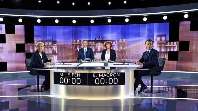 Marine Le Pen ed Emmanuel Macron curt avant la debatta.