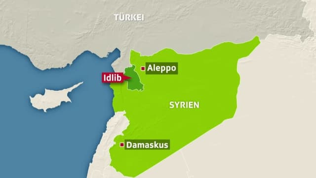 Karte mit Syrien und der angrenzenden Türkei. Idlib ist eingezeichnet.