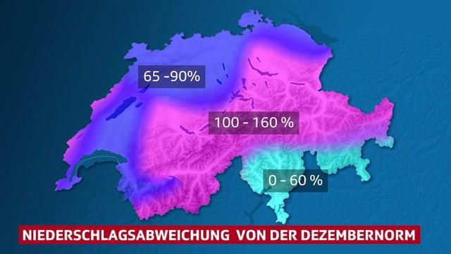 Farbfläche auf der Schweizkarte stellen die Verteilung des bisherigen Monatsniederschlags dar.