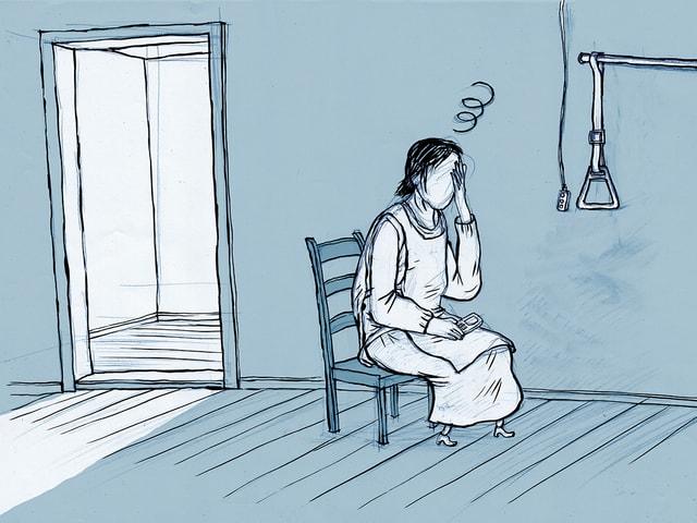 Die Illustration zeigt eine erschöpfte Pflegerin.