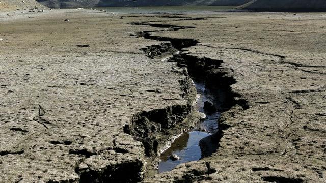 Bild von ausgetrockneter Erde. In der Mitte ein grosser Riss mit etwas Wasser drin.