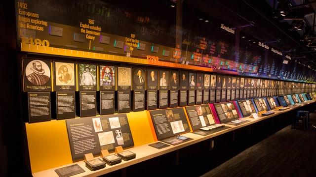 Bücherregal beginnend 1492 mit Gesichtern und Schriftstücken von Autoren