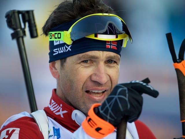 Ole Einar Björndalen im Januar 2018 in Ruhpolding.