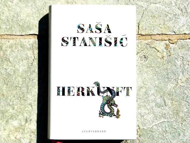 Das Buch  «Herkunft» von Saša Stanišić liegt auf einem Steinboden