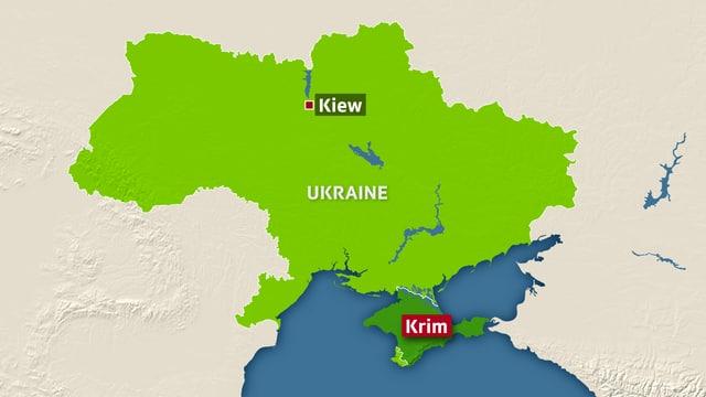 Eine grafische Karte der Ukraine mit der Halbinsel Krim.