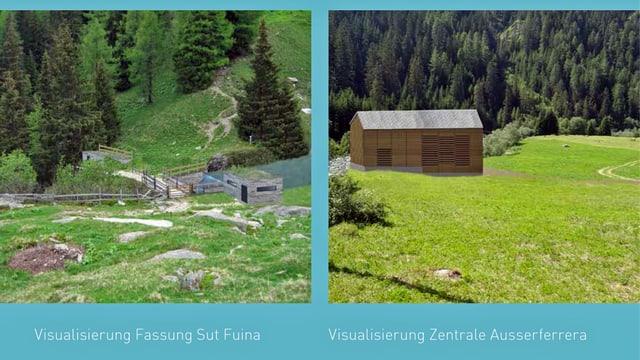 Zwei Visualisierungen aus dem Prospekt «Wasserkraftwerk Aua da Mulegn».