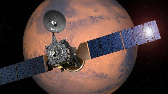 Grafik: Die ExoMars-Sonde vor dem Mars