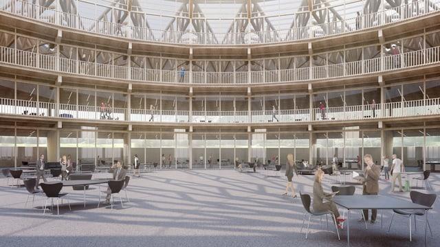 visualisaziun da la «piazza d'economia» en il center InnoQube