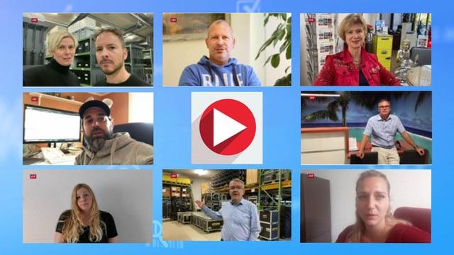 Collage mit Video-Standbildern von Selbständigerwerbenden