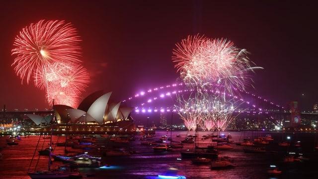 Purtret d'in fieu artifizial sur l'opera a Sydney.