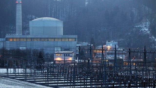 Reaktor des AKW Mühleberg, im Vordergrund Stromleitungen.