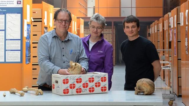Prof. Jesper Boldsen, Prof. Almut Nebel und Dr. Ben Krause-Kyora