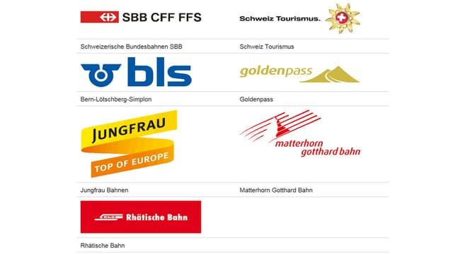 Verschiedene Logos von öffentlichen Verkehrsmitteln.