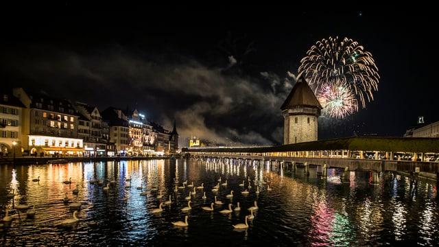 Feuerwerk und Kappelbrücke