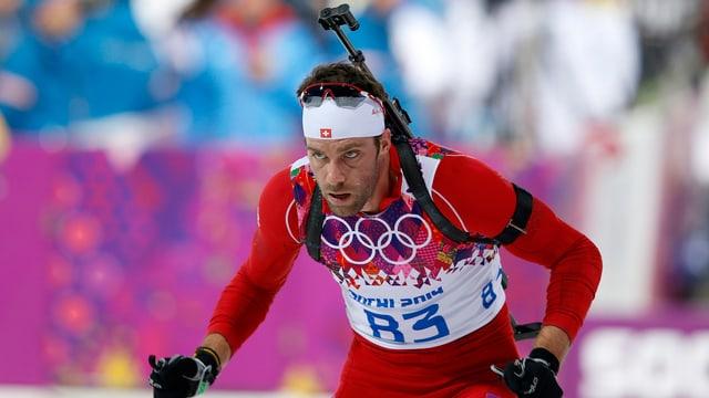 Simon Hallenbarter während dem 20-km-Rennen in Sotschi.