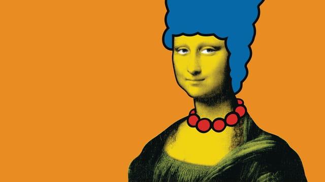 Buch Cover Da Vinci bei den Simpons auf Cover ist Mona Lisa mit Frisur von Marge von den Simpsons