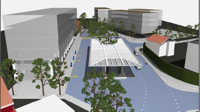 Visualisierung des künftigen Bahnhofplatzes