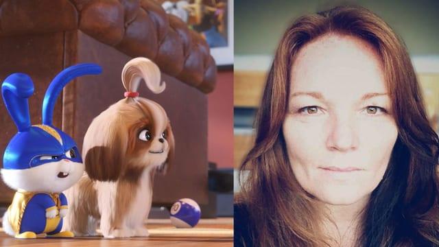 Zusammengeschnitten: Ein Bild aus dem Animationsfilm mit einem Hasen und einem Hund sowie die Porträtaufnahme einer Frau mit langen Haaren.