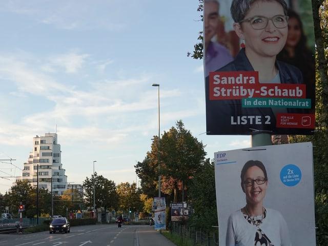 Wahlplakate an Strasse in Münchenstein