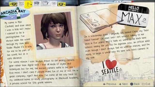 Im Tagebuch stellt sich Max vor.