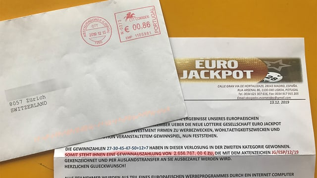 Brief von Eurojackpot mit angeblicher Gewinnmitteilung