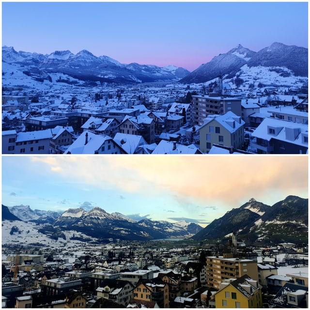 Zwei Bilder: Vorher mit Schnee -  Nachher ohne Schnee