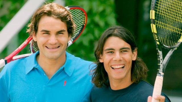 Roger Federer und Rafael Nadal bei den French Open 2005.