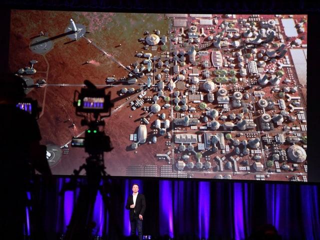 Siedlung auf dem Mars.