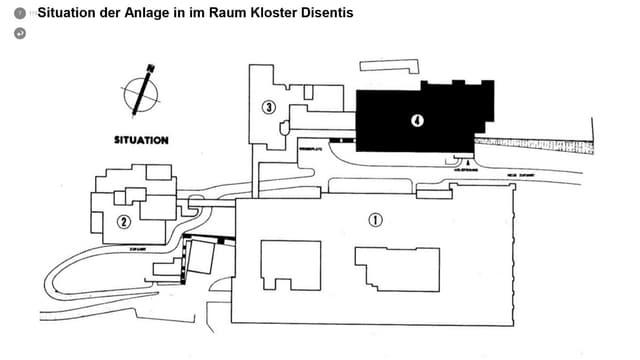 Il plan mussa l'ospital da militar (en nair) davos il bajetg da la claustra da Mustér.