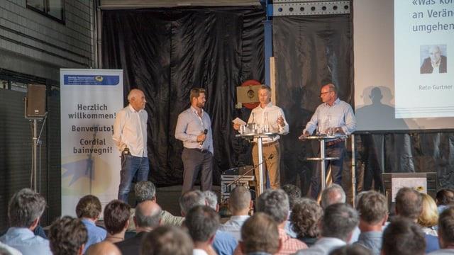 Il referents (da san.): Reto Gurtner, Pascal Mittner, Urs Cadruvi e Luzi Willi.