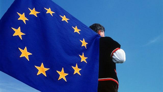 Mann in Schweizer Tracht hält eine EU-Fahne