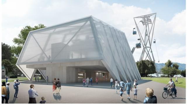 Die Station der ZKB-Seilbahn ist ein leichter, heller Bau.