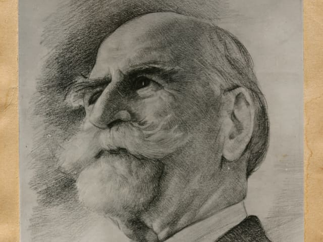 Dr. Ernest Guglielminetti auf einer Zeichnung von Vivaldi Martini.